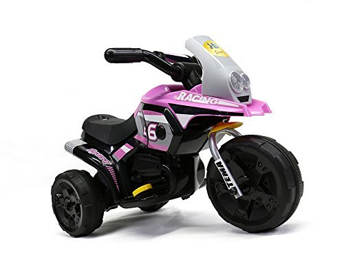 MIGOTOYS Racing Motorcycle Ride on Car For Kids 3 Power Wheels, Pink