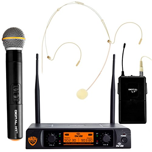 Nady DW-22 Dual Digital Wireless Combo System with 1 Handheld Microphone, 1 bodypack & 1 Headset (HM-10). Ultra-low latency with QPSK modulation - XLR and ¼