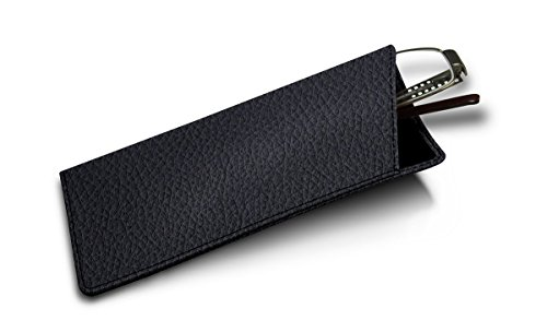 Lucrin - Genuine Leather Thin Eyeglass Case and Holder - Navy Blue - Granulated - Luxury Eyeglasses Online
