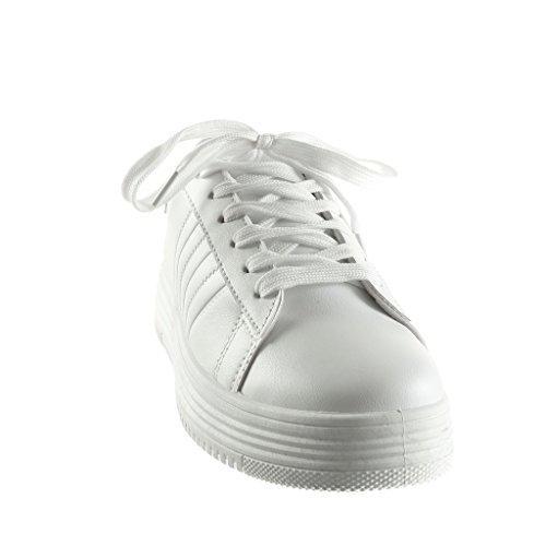Angkorly - Scarpe da Moda Sneaker Tennis zeppe low donna finitura cuciture impunture Tacco zeppa piattaforma 3.5 CM - Bianco