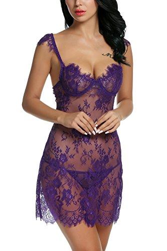 Avidlove-Lingerie-Lace-Babydoll-Set-Nightgown-Womens-V-Neck-Chemises