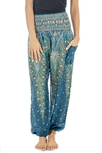 Tori Wear Harem Pants Smocked Elastic Waist Hippie Pants Turquoise 2 One Size (Baggy Pants Dress)