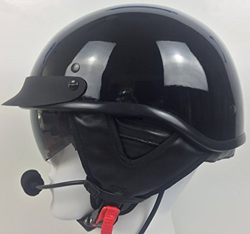 Half Helmet With J&M 284 Headset / Intercom for Harley 7 Pin Black - Headsets Helmet 284