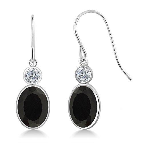 Gem Stone King 2.70 Ct Oval Black Onyx G-H Diamond 14K White Gold Earrings