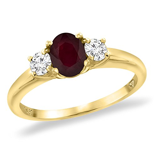 (14K Yellow Gold Enhanced Genuine Ruby Engagement Ring Diamond Accents Oval 7x5 mm, size 7)