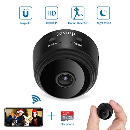 JOYTRIP Mini Hidden Camera WiFi Wireless HD 1080P IP Small Cam Home Security Nanny Cam Built-in Battery with Motion Detection/Night Vision for iPhone/iPad/Android (16G TF Card)