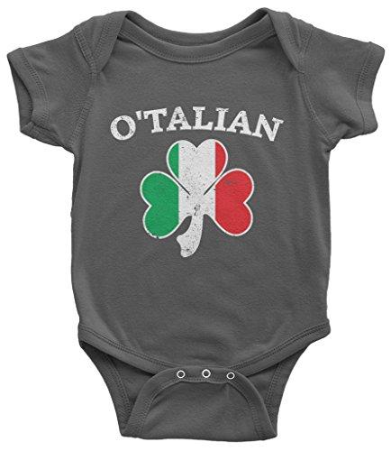 Threadrock Baby O'Talian Italian Irish Shamrock Infant Bodysuit 6 Months Charcoal
