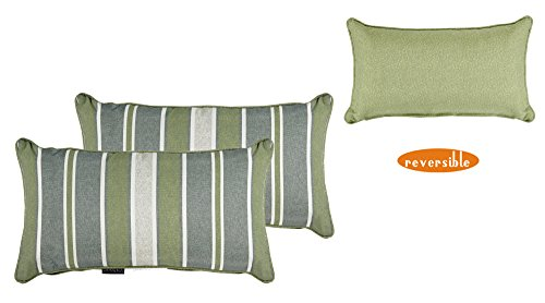 Bossima Indoor/Outdoor Green/grey Striped/Piebald Rectangle Toss Pillow, Corded Cushion Set of 2 (Cushions For Daybeds Bolster)