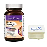 New Chapter Bone Strength Calcium Supplement with Vitamin K2, D3-90 ct Slim Tablets Bundle with a Lumintrail Pill Case