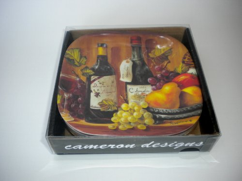 Wine Country Grapes Melamine Appetizer Tapas Cocktail Plates Boxed Set of ()