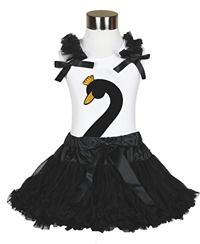 Black Swan Shirt Black Pettiskirt Girl Clothing Costume Outfit Skirt Set 1-8y (6-8year) -