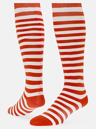 Red Lion Hot!! Red and White Stripe Lion Mini Hoop Athletic Socks ( Orange / White - Medium )