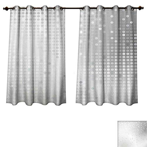 Grey Blackout Thermal Backed Curtains for Living Room Digital Art Ombre and Dots Graphic Design Modern Home Textiles Print Window Curtain Fabric Silver Gray W55 x L63 inch