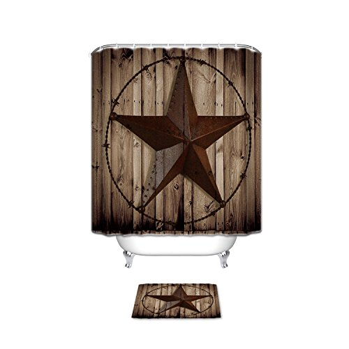 Western Texas Star Bathroom Set Shower Curtain with Bath Mats - Stars Accessories Bath