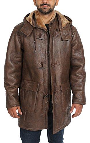 Mens Real Sheepskin Duffle Coat Brown ¾ Long Hooded Warm Shearling Jacket Mitchel (XX-Large)