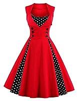 Cassie Mclean Women's V-Neck Sleeveless Wrap Dress Polka Dot Cocktail Swing Dress