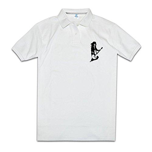 [KONGYII Male Joan Jett Sport White Polo] (Joan Jett Wigs)