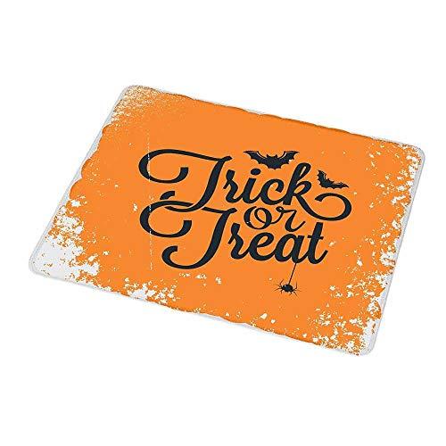 Portable Mouse pad Custom Vintage Halloween,Trick or Treat Halloween Theme Celebration Image Bats Tainted Backdrop,Orange Black,Non-Slip Rubber Mousepad -