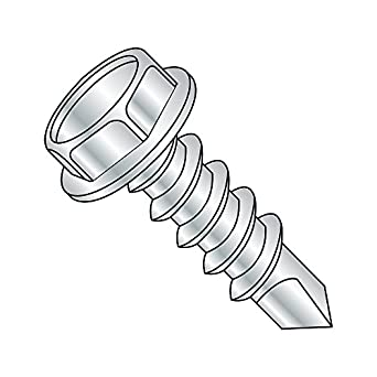 Pack of 1000 #10-16 Thread Size Slotted Drive Hex Washer Head Zinc Plated Finish Small Parts 1048KSW Pack of 1000 Steel Self-Drilling Screw 3 Length #3 Drill Point 3 Length