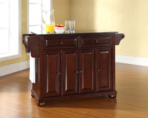 Crosley Furniture Alexandria Kitchen Island with Solid Black Granite Top - Vintage Mahogany (Mahogany Granite Top)