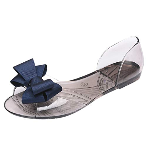 Women Slip On Sandals Work Shoes Summer Bohemia Bow Beach Roman Shoes Casual Evening Party Shoe for Ladies Girls - Satin Chatham