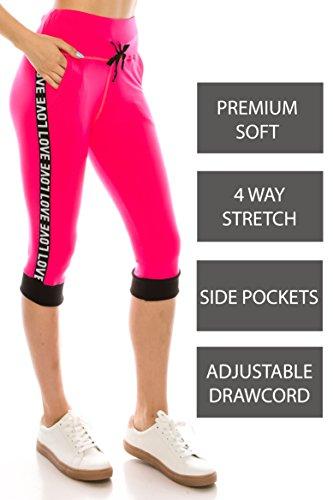ALWAYS Women Drawstrings Jogger Sweatpants - Premium Soft Stretch High-Waisted Capri Pockets Track Pants Neon Pink S/M ()