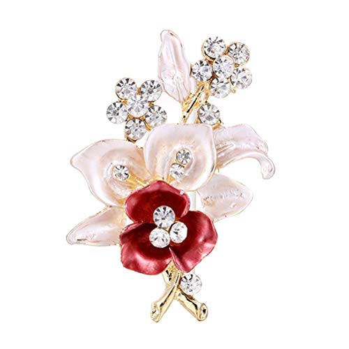 Amosfun Rhinestone Flower Brooch Pin Breastpin Jewelry Accessories Corsage Gift for Mother's Day Birthday Gift ()