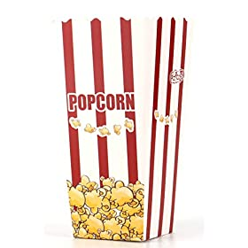 Lawei 100 Pack Open-Top Popcorn Boxes – 7.8 inch 46 oz Foldable Popcorn Containers