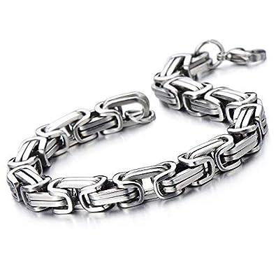 05d6d3fc5b3b2 Moneekar Jewels Masculine Style Stainless Steel Braid Link Bracelets for  Men Silver Color Polished Bracelets for Mens Boys