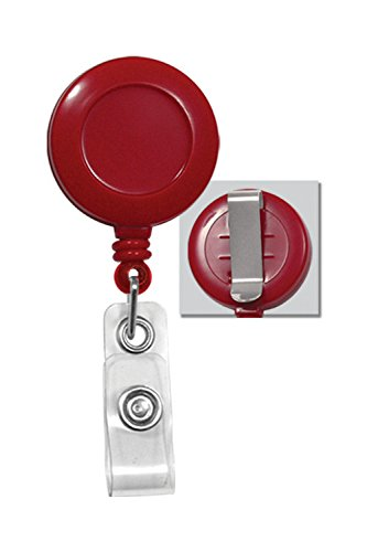 Classic Round Plastic Badge Reel w/ Clear Vinyl Strap and Belt Clip -Red