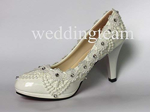 Image Unavailable. Image not available for. Color  3 quot  white ivory pearl  lace crystal Wedding shoes Bridal heels ... 3fdc996b9a4c