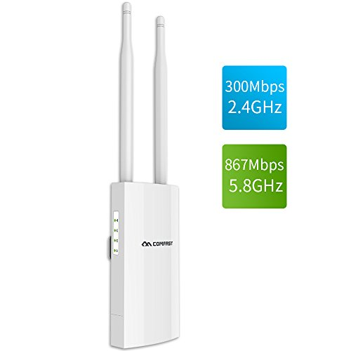 - COMFAST AC1200 High Power Outdoor Wireless Access Point with Poe,  2.4GHz 300Mbps or 5.8GHz 867Mbps Dual Band 802.11AC Wireless WiFi Access Points/Router/Bridge, Used for Outdoor WiFi Coverage