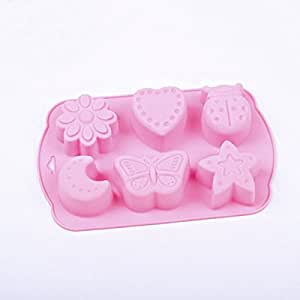 6 Holes Insect Moon Flower Star Butterfly Ice Mold Chocolate Mold Cake Mold Jelly Pudding Mold