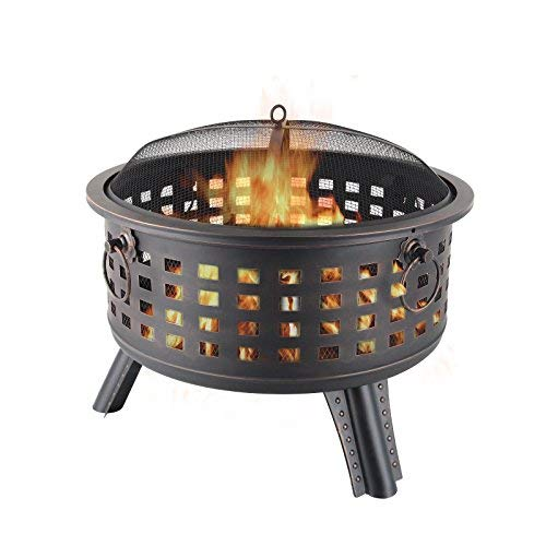 KUPPET Outdoor Metal Steel Bowl Fire Pit Wood Burning Heater Table Backyard Patio, W/Mesh, Free Grill Grate and Cover