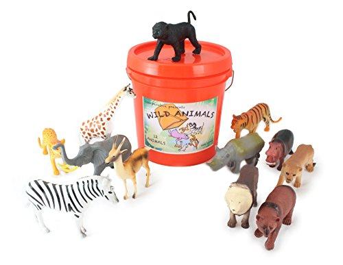 WellPackBox Big Orange Bucket Wild Animal Zoo Bucket 12 Large Plastic Animal Toys Easy Pick Up And Storage (Animal Wild Box)