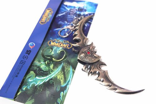 Price comparison product image tongrou WOW illidan Stormrage Warglaive of Azzinoth Blade Metal Keychain Toy Gift New