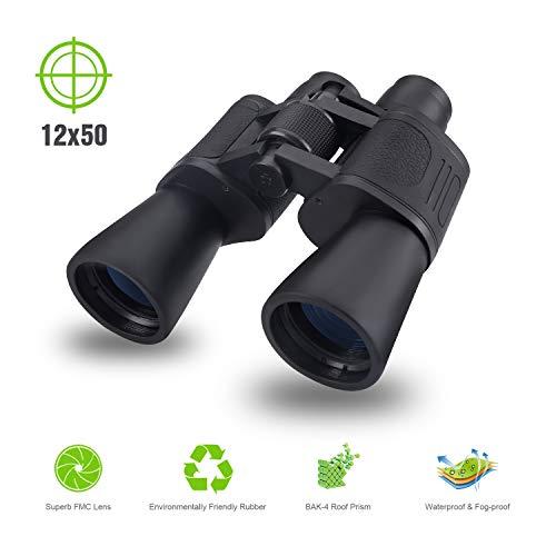 MOICO 12x50 HD Binoculars for Adults, BAK4 Prism FMC Lens Weak Light Night Vision,Waterproof Fog-Proof Binoculars for Bird Watching,Hunting, Travel, Camping, Sports Events, Concert, Theater, Opera