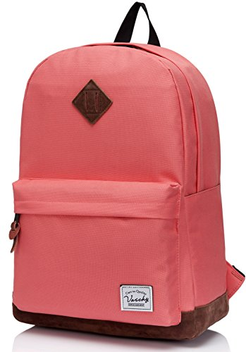 Vaschy School Backpack for Teens with 15 inch Laptop Compartment Lightweight Casual Rucksack Tangerine