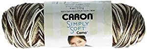 Caron Simply Soft Camo Yarn, 4 Ounce, Snow Camo
