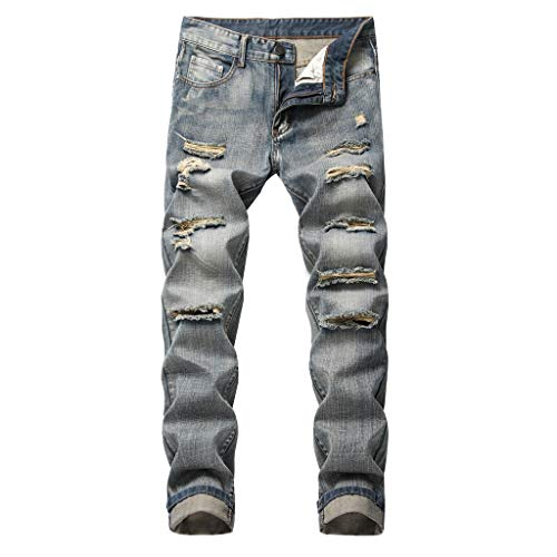Pant Clearance Sale Blue Mens Cotton Jeans with Holes,Casual Slim Straight Tearing Denim Trousers with Pockets