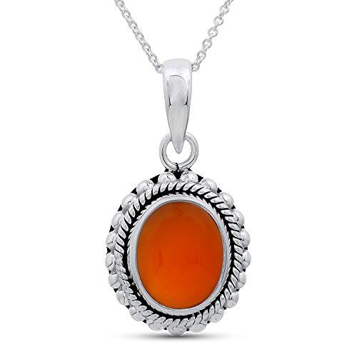 Carnelian Pendant Necklace - .925 Sterling Silver Carnelian Pendant ()