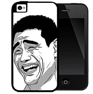 Asian Guy Meme Laughing Black and White 2-Piece Dual Layer High Impact Black Silicone Cell Phone Case Cover iPhone i5 5s