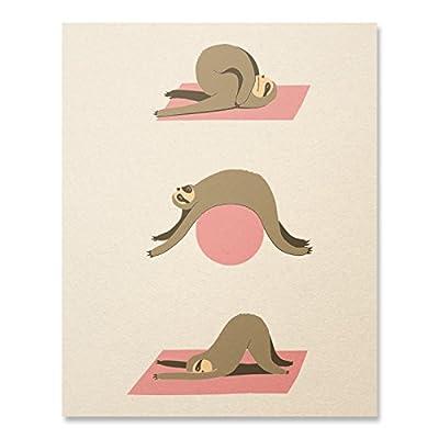 Sloth Print / Sloth Poster / Sloth Yoga Print / Funny Sloth Print / Cute Yoga Print / Home Decor / 8 X 10 - Sloth Art