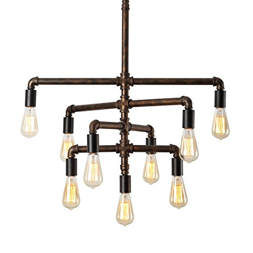 Foyer Light Bulb (SEOL-LIGHT Barn Adjustable Pipe Chandeliers with 9 light(Industrial-Style)Max 540W Metal Fixture,Dinning Table,Bar,Foyer,Entry way)