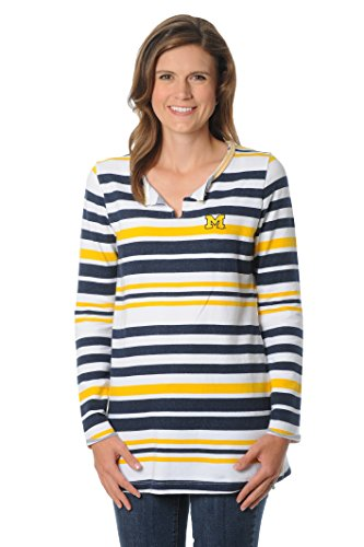 NCAA Michigan Wolverines Women's Striped Tunic Fleece Top, Large, Gold/Navy/White (Michigan Striped Shirt)