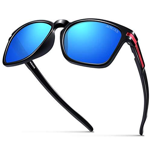 ACBLUCE Polarized Sunglasses for Men Women Sport Round Wayfarer Unbreakable Frame UV 400 Glasses, Matte Black Frame blue Revo Lense, adult -