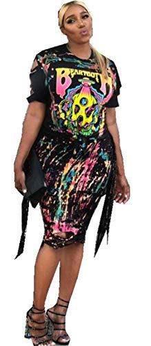 Womens Sexy 2PCS Dress Set Skull Graffiti Tassel Shirt Ripped Holes Skirt Clubwear Tracksuit Set ()