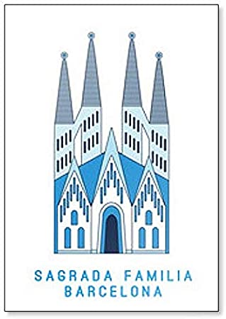 Sagrada Familia Barcelona, famosa catedral de España, ilustración artística imán para nevera: Amazon.es: Hogar