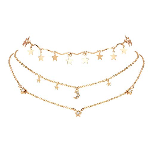 (Stylish Gold Layered Necklace Choker with Moon Star Pendant Necklace Set for Women Lady Girl Gift Jewelry)