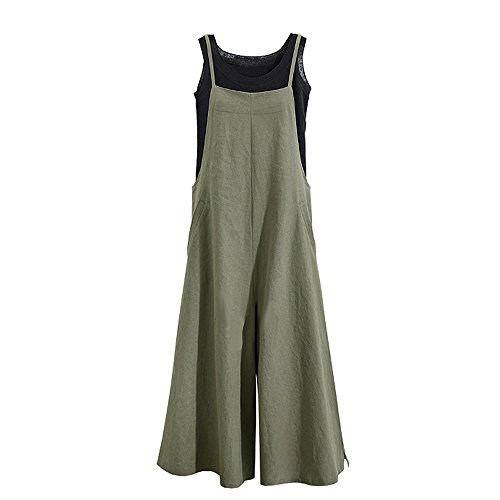 Tearmer Fashion Womens Onepiece Casual Cotton Long Loose Suspender Solid Color Jumpsuits Overall S-5XL from Tearmer